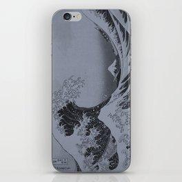 Silver Japanese Great Wave off Kanagawa by Hokusai iPhone Skin