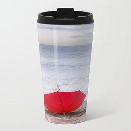 Red Umbrella at the beach Travel Mug