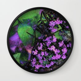 Purple Flowers by Lika Ramati Wall Clock