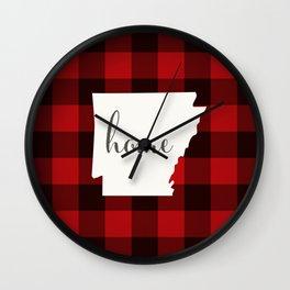 Arkansas is Home - Buffalo Check Plaid Wall Clock
