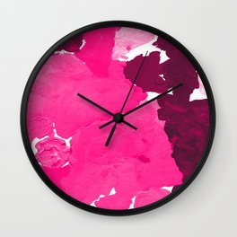 Saria - abstract painting pink magenta blush pastel dorm college girly trend canvas art Wall Clock