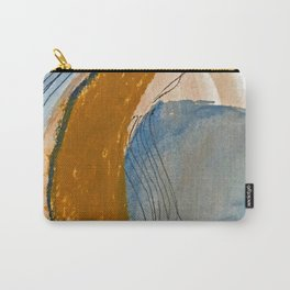 Gentle Breeze: a minimal, abstract mixed-media piece in blues and tans by Alyssa Hamilton Art Carry-All Pouch