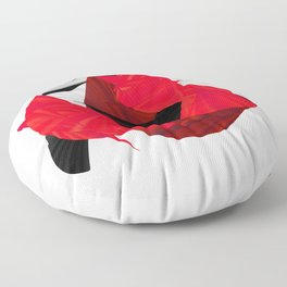 red black white silver abstract digital art Floor Pillow