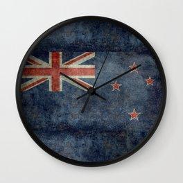 New Zealand Flag - Grungy retro style Wall Clock