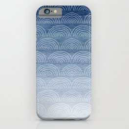 Blue Ombre Shibori Style Pattern, Indigo, Rainbow Pattern, Blue Sky iPhone Case