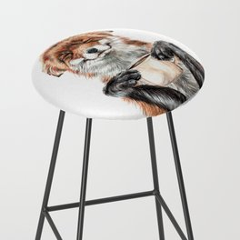 """"""" Morning fox """" Red fox with her morning coffee Bar Stool"""