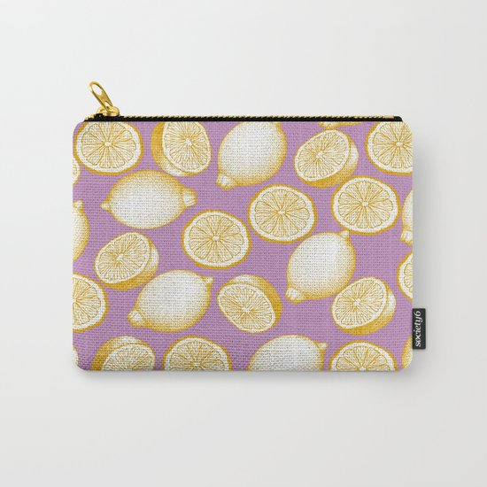 Lemons On Pink Background Carry-All Pouch