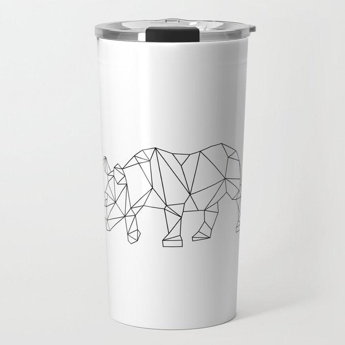 Geometric Rhino Design Travel Mug