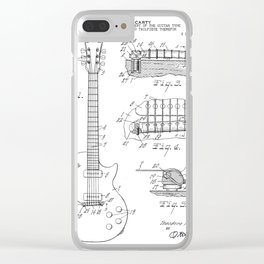 Gibson Guitar Patent - Les Paul Guitar Art - Black And White Clear iPhone Case