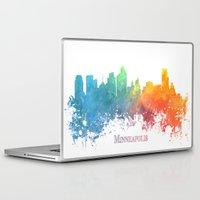minneapolis Laptop & iPad Skins featuring Skyline Minneapolis colored by jbjart