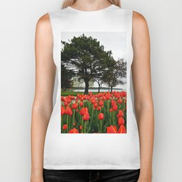 Tulips and the Trees by the Lake Biker Tank