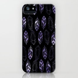 Purple Feathers and Gems on Black Pattern iPhone Case