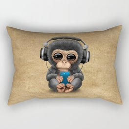Baby Chimpanzee with Headphones Holding a Cell Phone Rectangular Pillow