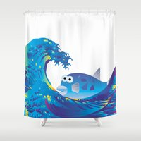 hokusai Shower Curtains featuring Hokusai Rainbow & Globefish  by FACTORIE