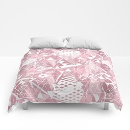Abstract ethnic pattern in dusky pink, white colors. Comforters