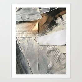 Too Soon | Collage Series 1 | mixed-media piece in gold, black and white + book pages Kunstdrucke