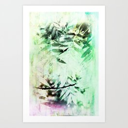 Sketched Leaves Abstract Art Print