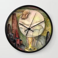 baloon Wall Clocks featuring Flying by on a Baloon by Esfir Brod