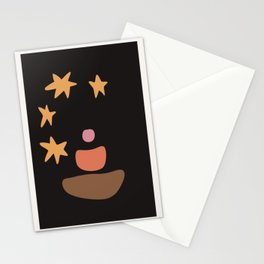 Starry Night abstract drawing. Mid century modern Boho composition Stationery Cards