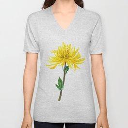 one yellow chrysanthemum Unisex V-Neck