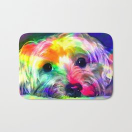 Colorful Yorkie By Annie Zeno  Bath Mat