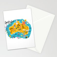 Illustrated map of Australia Stationery Cards