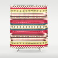 stripes Shower Curtains featuring stripes by ValoValo