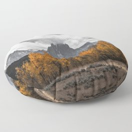 Teton Fall - Autumn Colors and Grand Tetons in Black and White Floor Pillow