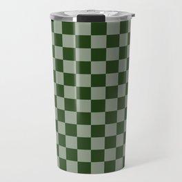 Large Dark Forest Green Checkerboard Pattern Travel Mug