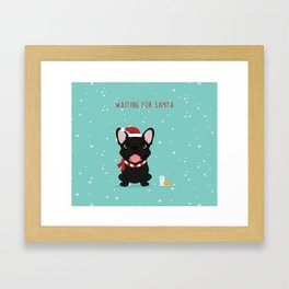 French Bulldog Waiting for Santa - Black / Brindle Edition Framed Art Print
