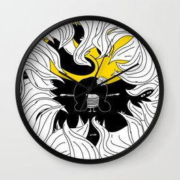 Pija and Moon - Protect Wall Clock