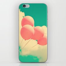 Happy Pink Balloons on retro blue sky  iPhone Skin