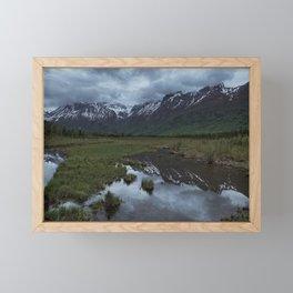 Snow and Green Framed Mini Art Print
