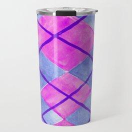 Hand Painted Classic Argyle Pattern Pink Purple Blue Travel Mug