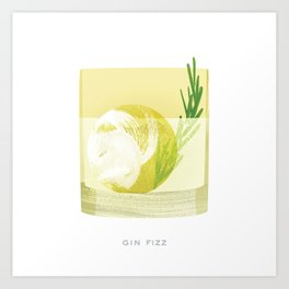 Cocktail Hour: Gin Fizz Art Print