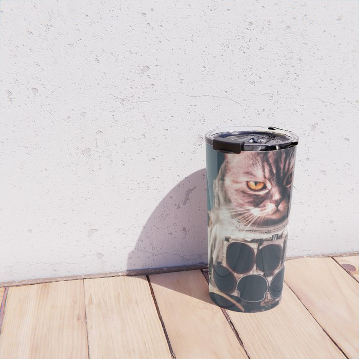 Beautiful cat astronaut Travel Mug