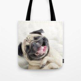 Smiling pug.Funny pug Tote Bag