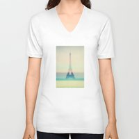 eiffel V-neck T-shirts featuring The Eiffel Tower by Metron
