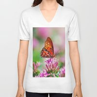 wedding V-neck T-shirts featuring Wedding Butterfly by BeachStudio