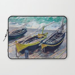Three Fishing Boats by Claude Monet Laptop Sleeve