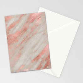 Smooth rose gold on gray marble Stationery Cards