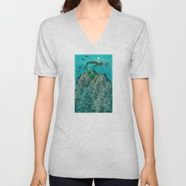 FLOATING FOREST BLUE Unisex V-Neck