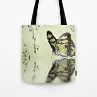malachite Tote Bags featuring Malachite reflection by Lyn Evans