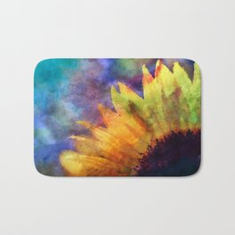 Sunflower Flower Floral on colorful watercolor texture Bath Mat