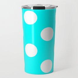 Large Polka Dots - White on Aqua Cyan Travel Mug