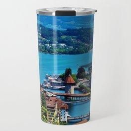 Lake Lucerne, Switzerland Chapel Covered Bridge Travel Mug