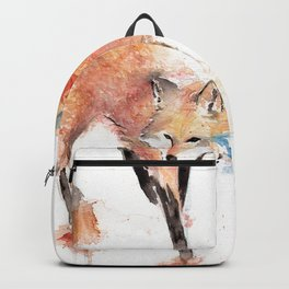 "Watercolor Painting of Picture ""Red Fox"" Backpack"