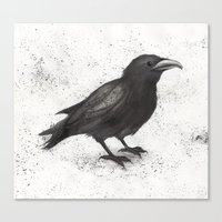 crow Canvas Prints featuring Crow by Puddingshades