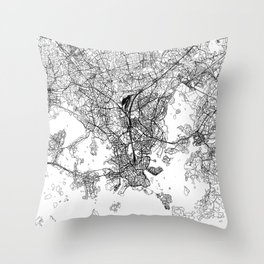 Helsinki White Map Throw Pillow