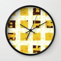 yellow pattern Wall Clocks featuring Yellow by SensualPatterns